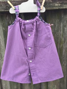 Purple check front and plaid back, size 2-3 dress made from shirts. $22 Daddy's Button Shirt