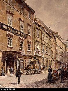 Hotel de Londres, the Graben, Vienna, Austria, 1901 watercolour Stock Photo City People, World Cities, Vienna Austria, Salzburg, Dieselpunk, Vintage Postcards, Thesis, Hungary, Genealogy