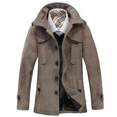 Men's Duffle Coat with Wide Lapel Classical Fashion Style Winter Overcoat, Mens Winter Coat, Wool Overcoat, Winter Coats, Winter Jackets, Mens Duffle Coat, Casual Tops, Men Casual, Herringbone Coat