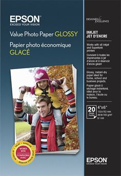 """Epson - Value Glossy Photo 4"""" x 6"""" 20-Count Paper - Bright white, EPSON S400032 VALUE 4X6 20 CT"""
