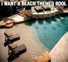 Homemade beach themed pool