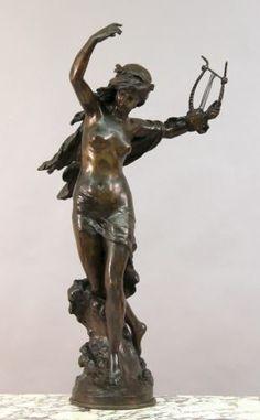 Art Nouveau Mathurin Moreau Lady Bronze Figure | eBay