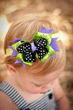 Halloween Purple Web Baby Headband Halloween Bow