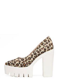 Zapatos de salón en punta plataforma - leopardo