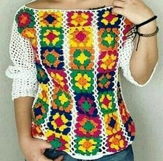 Crochet Motif Patterns, Crochet Designs, Knitting Patterns, Crochet Shirt, Crochet Lace, Crochet Summer Dresses, Crochet Sunflower, Crochet Woman, Beautiful Crochet