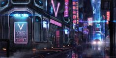 This image contains the classic Cyberpunk colour scheme and a lot of neon signage. This is good inspiration for the map.