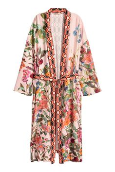 Patterned kimono: Calf-length kimono in a patterned viscose weave with a heavy drape, long, wide sleeves, a pleat at the back with a section in a contrasting colour, side pockets and a detachable tie belt at the waist.