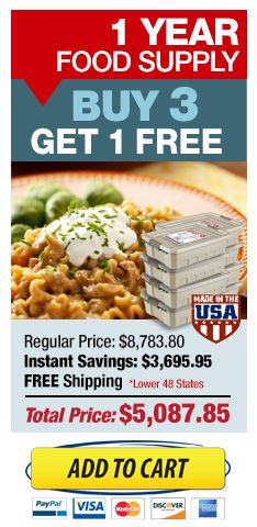 Buy 3, Get 1 Free Emergency Food Storage Sale!
