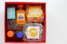 Snack box for new moms + free printable labels...would be a perfect gift to bring to a mama in the hospital or with a newborn at home.  {you are my fave}