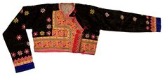 This is a Green Hmong man's jacket. It is relatively short, covering only the chest area and exposing the stomach. It is made with cotton, polyester, monk's cloth, and cotton threads. The jacket is decorated with diamond and star motifs. The front placket section is embroidered with cross-stitches on monk's cloth. The motifs utilized involve a combination of snails, ram's horns, and hearts. etc.