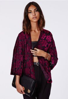 HYACINTH PREMIUM VELVET FLOCK FLORAL KIMONO. Rock an all black outfit with a splash of colour over the top. #missguidedAW14 #missguided #MISSGUIDEDAW14