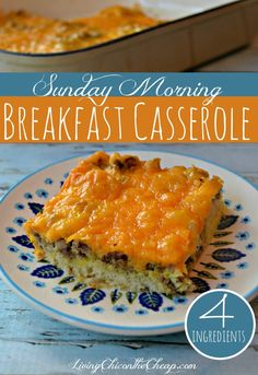 This breakfast casserole is just the thing for a lazy weekend morning - it only has 4 ingredients.