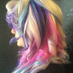 Pink. Purple and blue hair