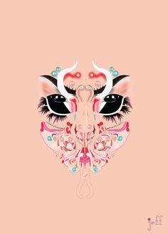 Bjork Utopia by SeuMaximo on DeviantArt Halloween Masks, Halloween Make Up, Presets Photoshop, Mazzy Star, Makeup Charts, Makeup Illustration, Makeup Drawing, Wallpaper Space, Drag