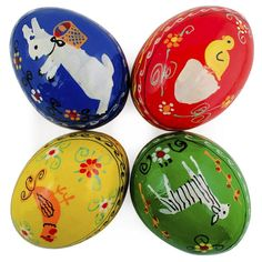 "2.25"" Set of 4 Animals- Bunny, Chick, Rooster and Sheep Wooden Ukrainian Easter Eggs"