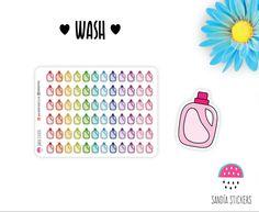 Wash Planner Stickers, Cleaning Stickers, Erin Condren, Plum Paper Planner, Filofax,Kikkik, Limelife. de SandiaStickers en Etsy