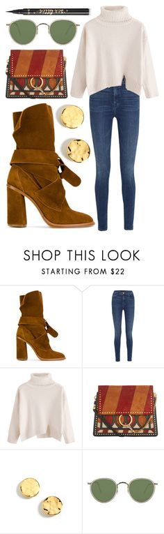 """""""Untitled #1790"""" by mayanderson ❤ liked on Polyvore featuring Casadei, J Brand, Chloé, Kenneth Cole, Oliver Peoples and tarte"""
