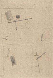 """Kazimir Malevich, """"Dibujos suprematistas"""", c. 1919. Museo Thyssen - Bornemisza [SALA 43b]. El espacio indeterminado del suprematismo se aprecia en obras como esta. #ProgramaNosotras"""