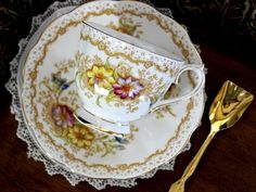 Royal Albert Gem, Teacup and Saucer, Hand Painted, English Bone China A stunning set from the highly collectible Royal Albert Company - Beautifully balanced cup and saucer. Hand finished floral bouque