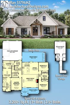 Plan Country Craftsman House Plan with Split Bedroom Layout House Plan gives you square feet of living space with bedrooms and baths. Family House Plans, New House Plans, Dream House Plans, Dream Houses, House Design Plans, 2200 Sq Ft House Plans, Sims 3 Houses Plans, Unique House Plans, Architectural Design House Plans