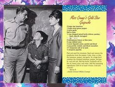 ANDY GRIFFITH SHOW RECIPE POSTCARD