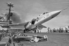 Smokin' Tigers Vigilante ready for launch from the USS Independence, circa Photographer unknown. Us Navy Aircraft, Us Military Aircraft, Military Jets, Military Weapons, Fighter Aircraft, Fighter Jets, Naval Aviator, Navy Carriers, Vigilante