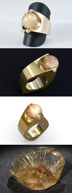 "Bague ""Globe of Light"" golden ring by Cameleor  Or jaune & Quartz Rutile"