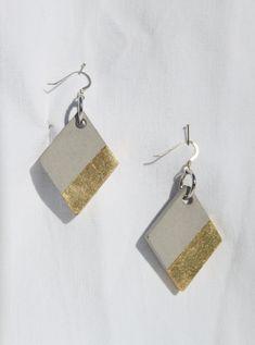 Boucles d'oreilles losange en béton spécial, fin léger et résistant,  pendants d'oreilles originales, bijou moderne, bijou béton de la boutique LRTendance sur Etsy