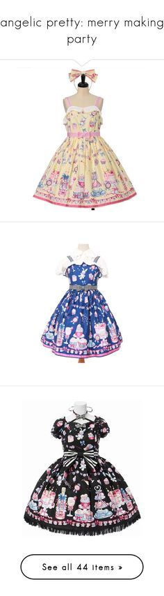 """""""angelic pretty: merry making party"""" by scoutvenus ❤ liked on Polyvore featuring dresses, lolita, onepiece, op, accessories, hair accessories, headband, women, hair band headband and head wrap hair accessories"""