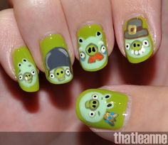 Angry Bird Pigs nail Art!