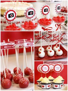 """You've Captured My Heart"" Valentines Party via Kara's Party Ideas KarasPartyIdeas.com Cake, decor, banners, desserts and more! #valentinesday #valentine #valentinesdaydesserttable #karaspartyideas #loveparty #cameraparty"