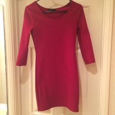Maroon 3 quarter sleeve ribbed body con dress Same as the navy one I have listed. Body con, above the knee, ribbed, perfect for fall. Work twice. Color is more vibrant than reflected in pics. Forever 21 Dresses Mini