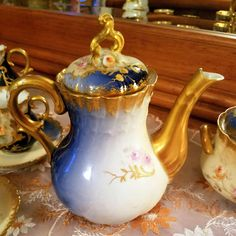 19 Century Limoges Hand Painted Tea Coffee Chocolate Pot Set Creamer/ Sugar Bowl/ 4 Cups/4 Saucers