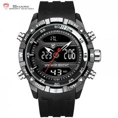 Hooktooth SHARK Alarm Auto Date Cool Men Clock Black Silicone Strap Band Analog Digital Display Chronograph Sport Watches /SH597