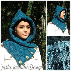 Hood/neck warmer with buttons made using Tunisian crochet. One size fits most adults.