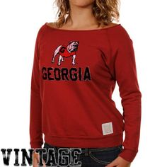 Original Retro Brand Georgia Bulldogs Ladies Open Neck Raglan Fleece Sweatshirt - Red $39.95
