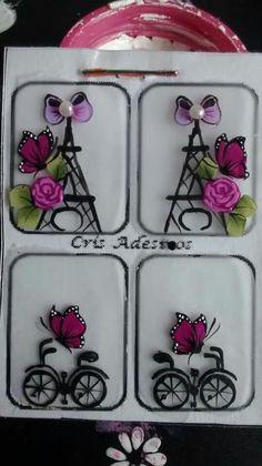 torre eifel e bike Floral Nail Art, Acrylic Nail Art, 3d Nail Art, 3d Nails, Nail Arts, Coffin Nails, Paris Nails, Nail Envy, Foto Art