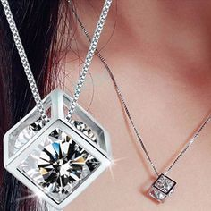 Fashion Women's 925 Sterling Silver Chain Crystal Rhinestone Pendant Necklace N #Unbranded