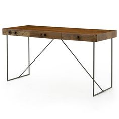 Hugh Rustic Modern Reclaimed Wood Iron Desk | Kathy Kuo Home
