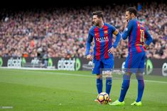 Leo Messi and Neymar Jr during the spanish league match between FC Barcelona and Athletic Club de Bilbao in Barcelona, on February 4, 2017.