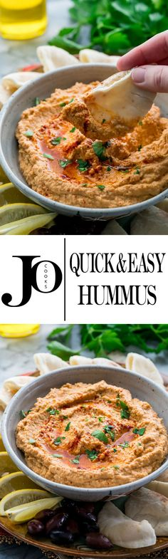 This easy hummus is homemade and super quick to put together. It's creamy, rich, garlicky and super fresh, totally dip worthy!