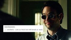 matt murdock + text posts He won't break your neck: he doesn't kill. <<< There are ways to break a neck without killing. ( I'm a writer, not a serial killer) Marvel Memes, Marvel Dc, Marvel Comics, Daredevil Punisher, Daredevil Funny, Netflix Daredevil, Dc Movies, Jessica Jones, The Victim