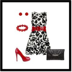 Classic black and white with red accessories - Polyvore