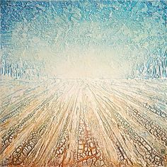 Winter Field - painting by Canadian artist Nik Harron, (made using acrylics and kroma crackle)