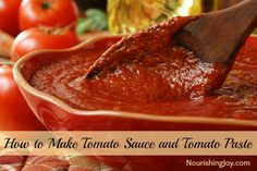 How to Make Tomato Sauce and Tomato Paste | NourishingJoy.com - what a great way to make use of the summer tomato harvest!