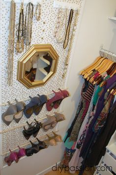 Framed Fabric Shoe Organizer swinging doors in closet provide extra storage space. Small Closet Organization, Space Saving Storage, Diy Organization, Organizing Ideas, Organizing Shoes, Bedroom Organisation, Deep Closet, Master Closet, Master Bedroom