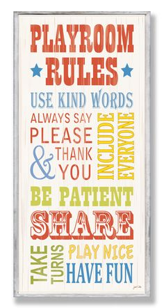 The Kids Room Playroom Rules Part 2 Typography Wall Plaque