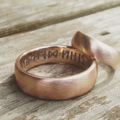 Viking Rune wedding bands in 14k rose gold. Custom order request. What we create is up to You! Place your custom order with us today.