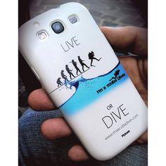 """Cover telefono Samsung Galaxy S3. Se ami la subacquea dillo con la cover della linea """"Live or Dive"""" di I'm a scub Diver.  http://www.imascubadiver.com/it/320-shop/4-Cover+Galaxy+S3.html"""