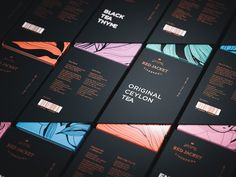 Russian studio Plenum created this stunning branding and packaging for Red Jacket Tea. More branding inspiration via Behance Black Packaging, Luxury Packaging, Food Packaging Design, Coffee Packaging, Packaging Design Inspiration, Branding Design, Bottle Packaging, Tee Design, Design Poster